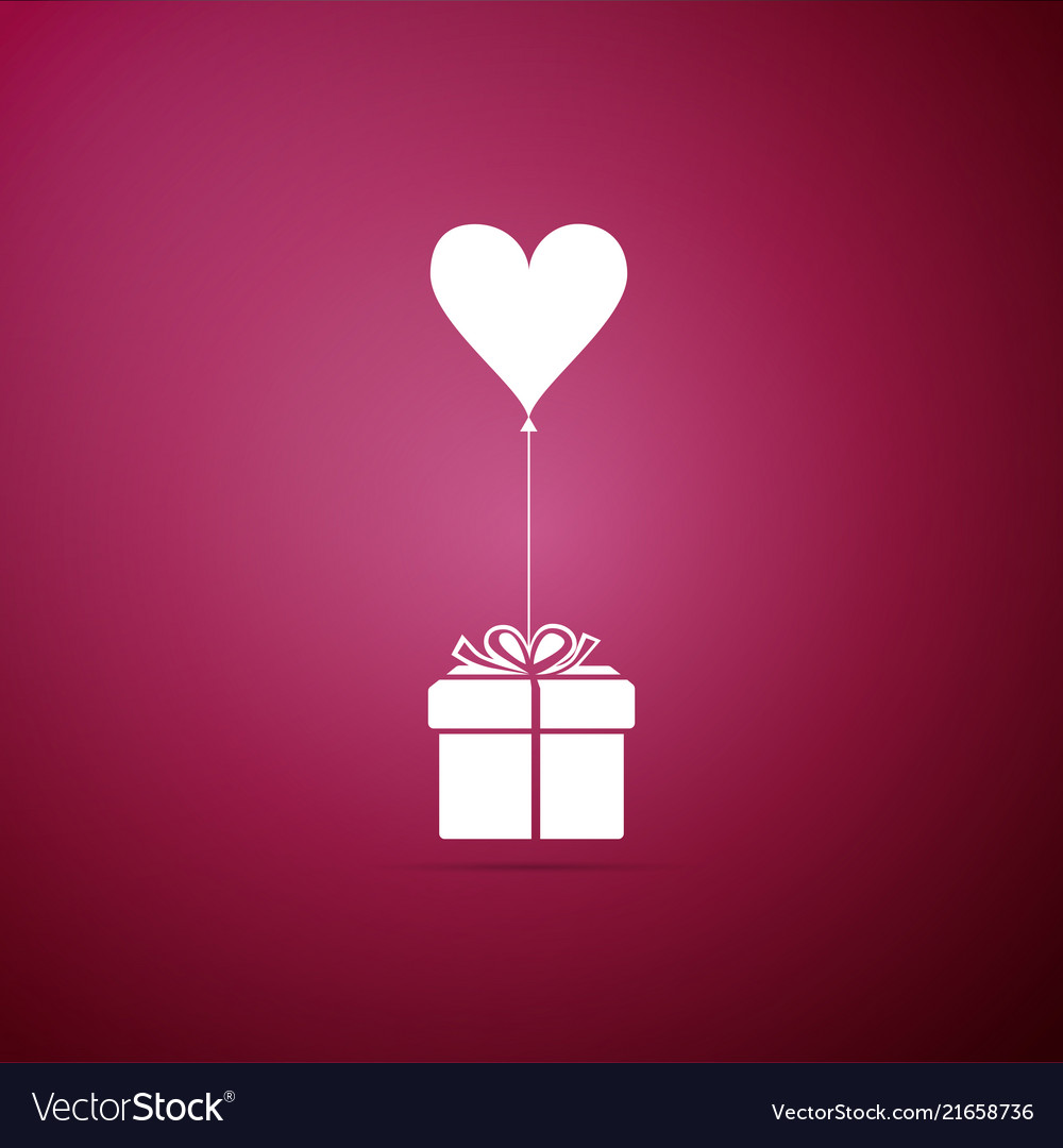 Gift with balloon in shape of heart icon isolated