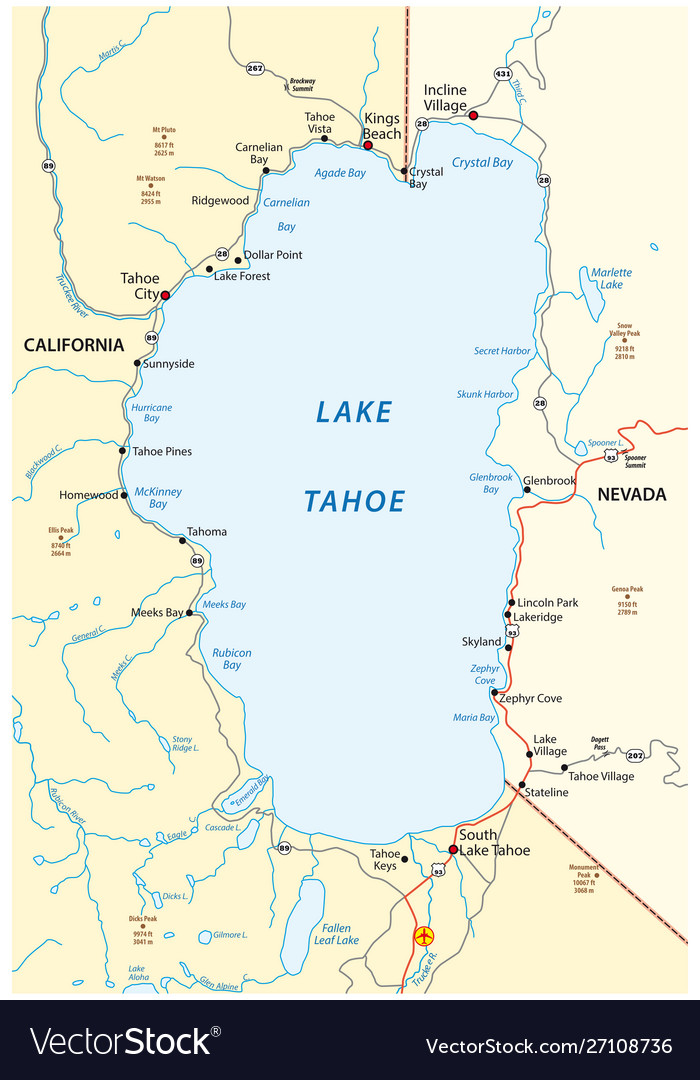 Lake Tahoe On Us Map Map lake tahoe between california and nevada Vector Image