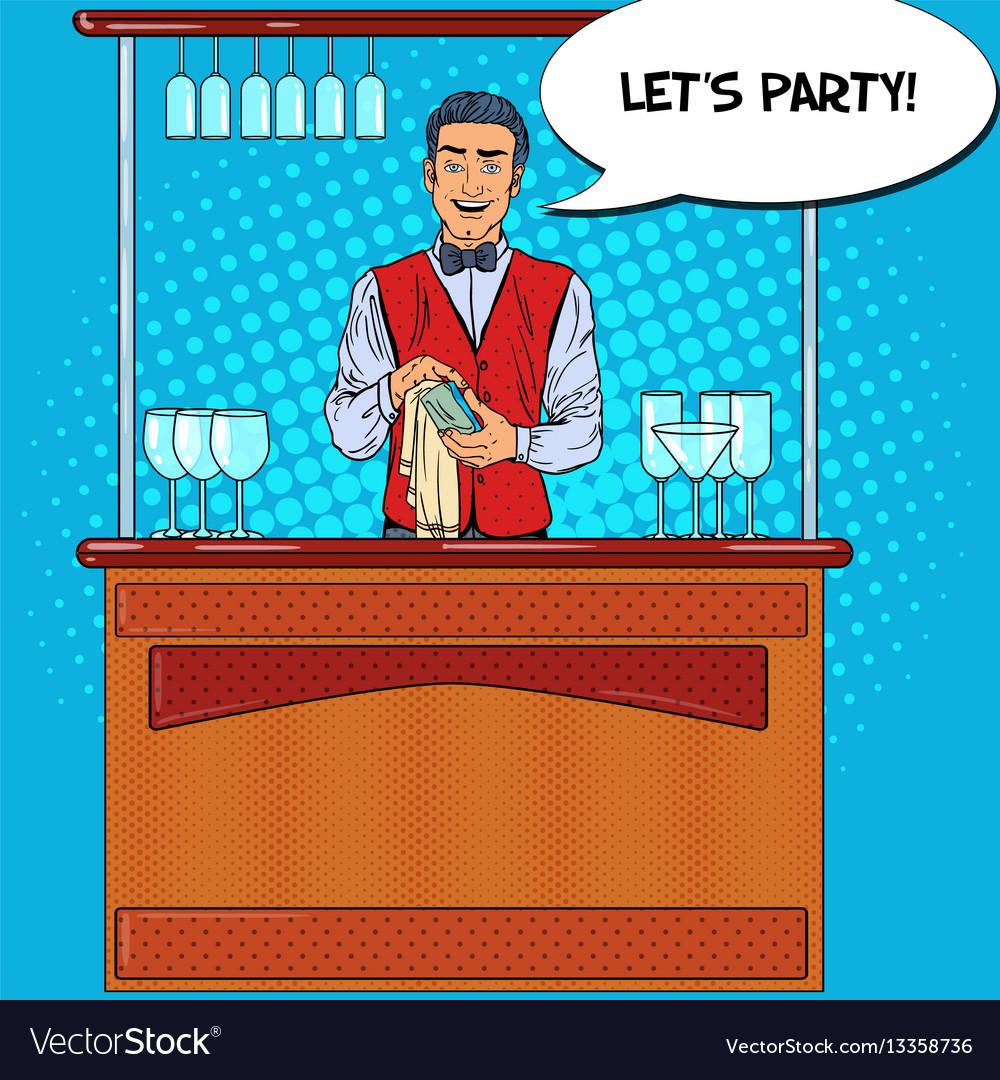 Pop art barman wiping glass in nightclub bar vector image