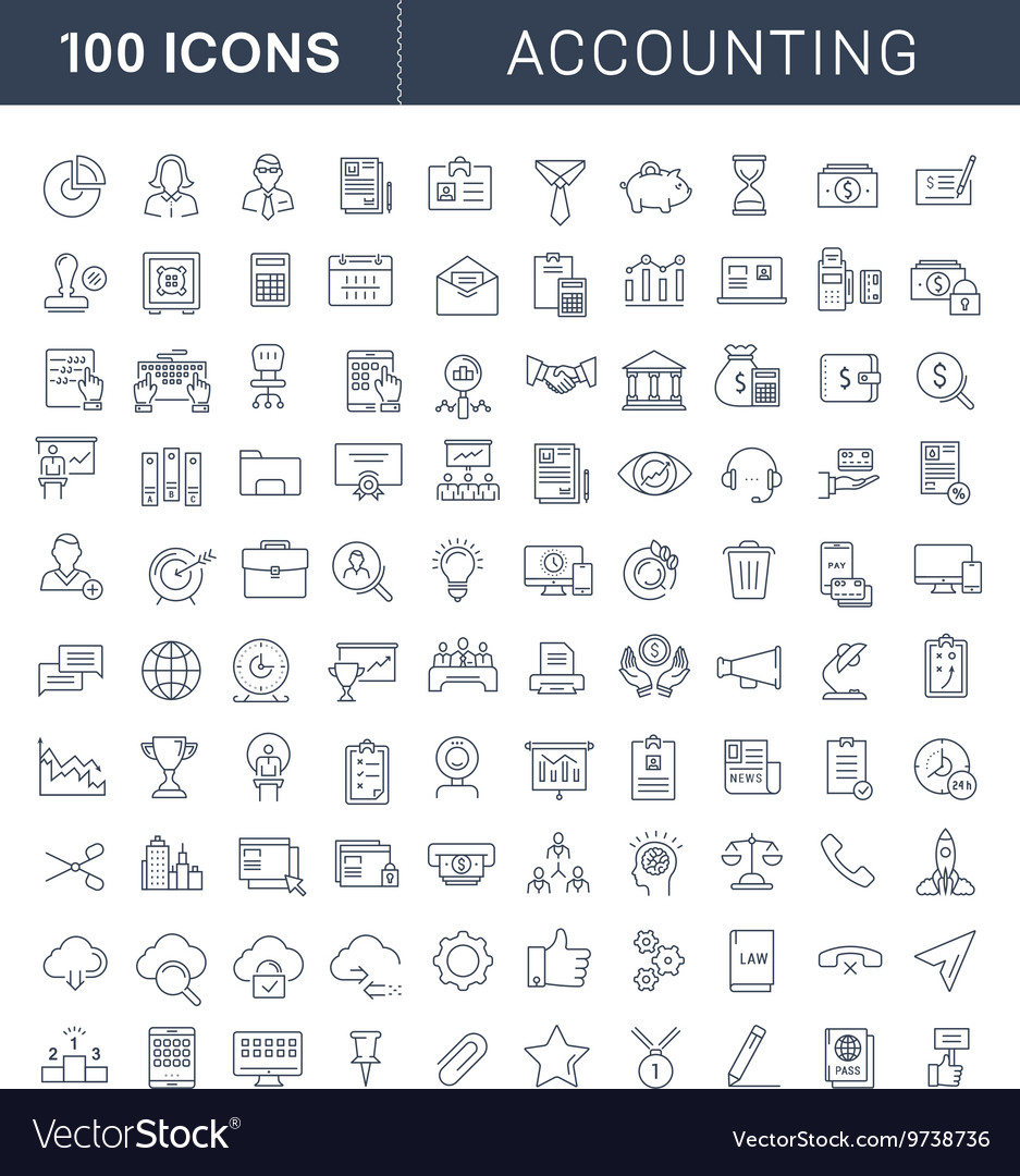 Set Flat Line Icons Accounting and Finance