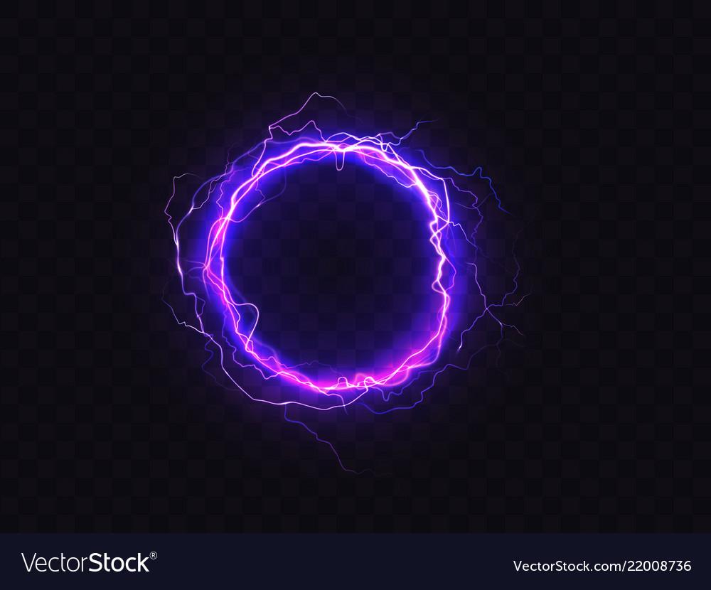 Shining circle of purple lighting sparkle