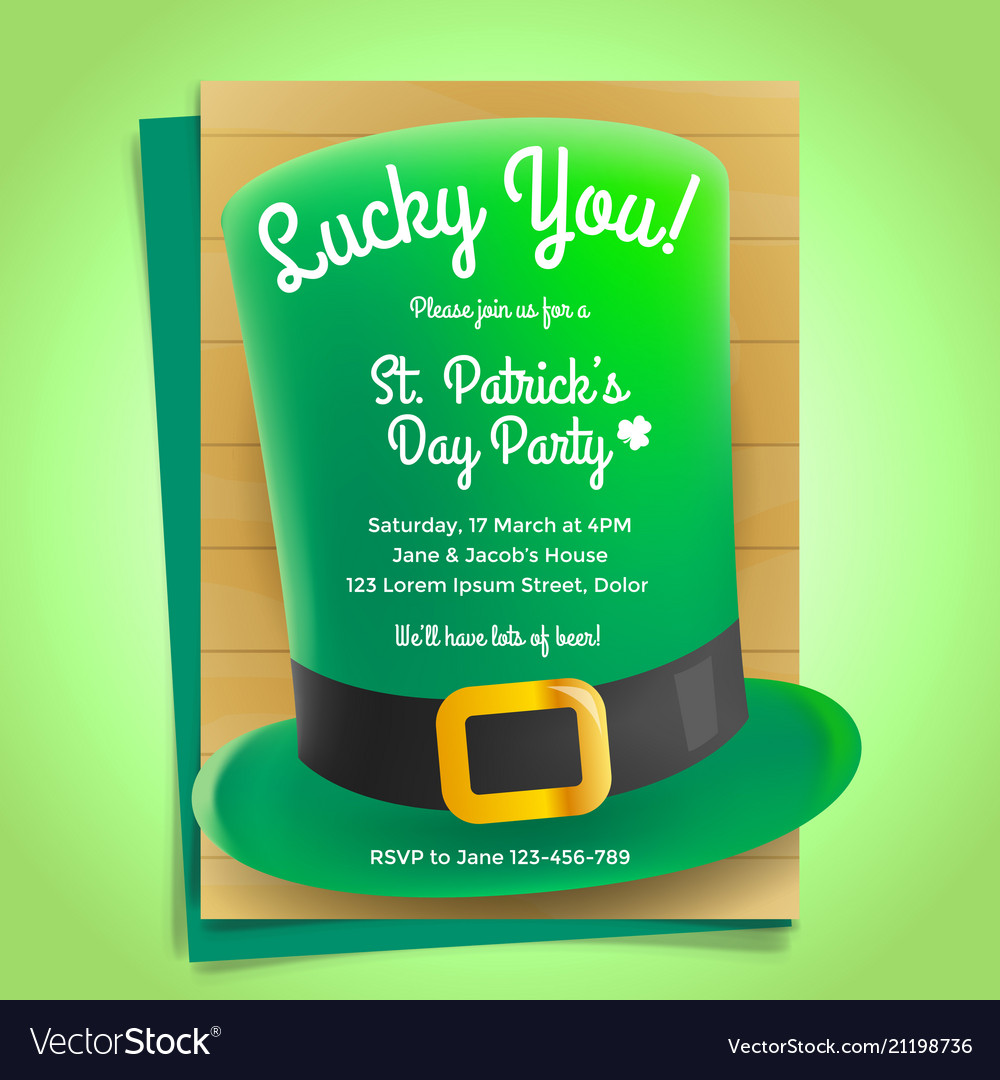 st patricks day invitation with hat royalty free vector