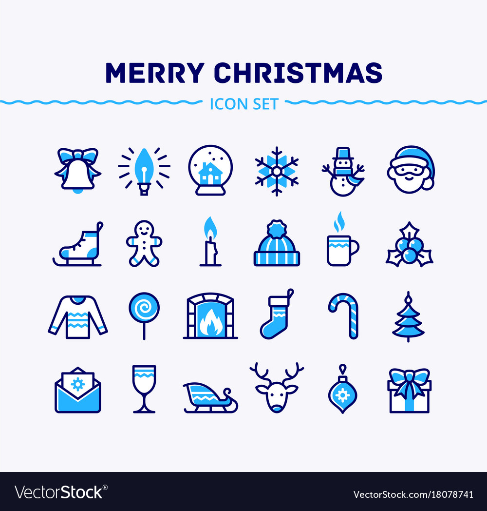 Big set of linear christmas and new year icons