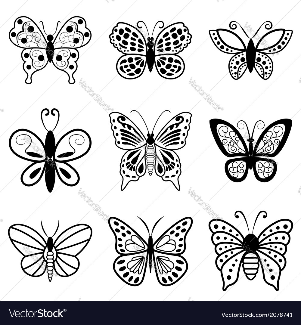 Butterflies black silhouettes on white background