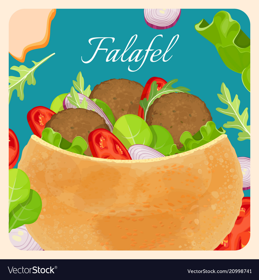 Falafel exotic eastern dish with meat and