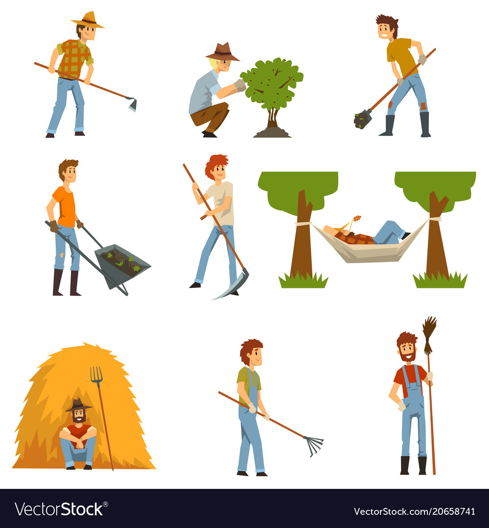 Farmers set farm workers with gardening tools vector image
