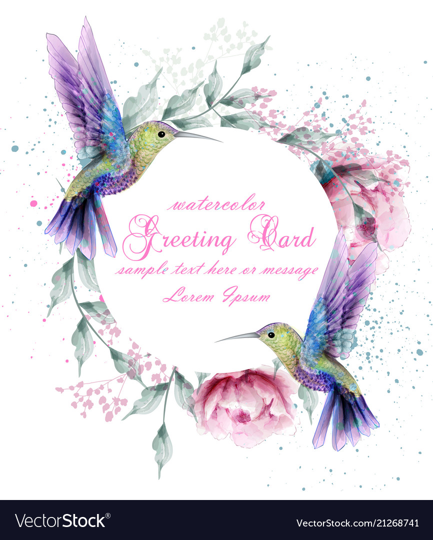 Greeting card with watercolor humming bird frame