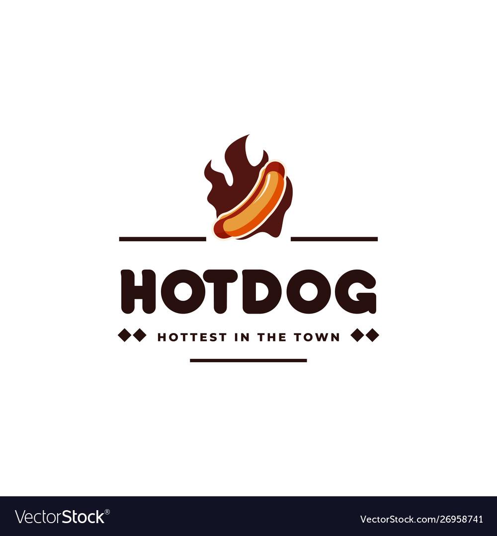 Hotdog and fire vintage emblem hipster logo