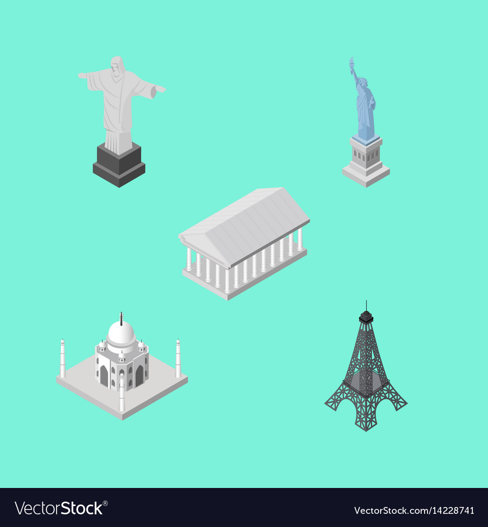 Isometric cities set of athens paris india
