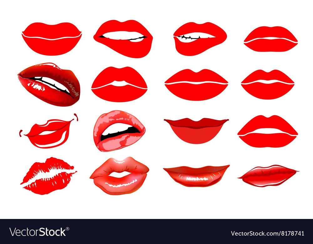 Lips set design element Womans lip gestures set