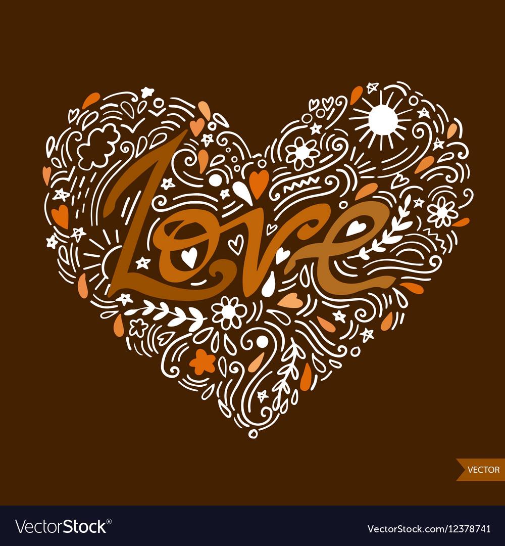 Love postcard Lettering Love Ink Modern brush