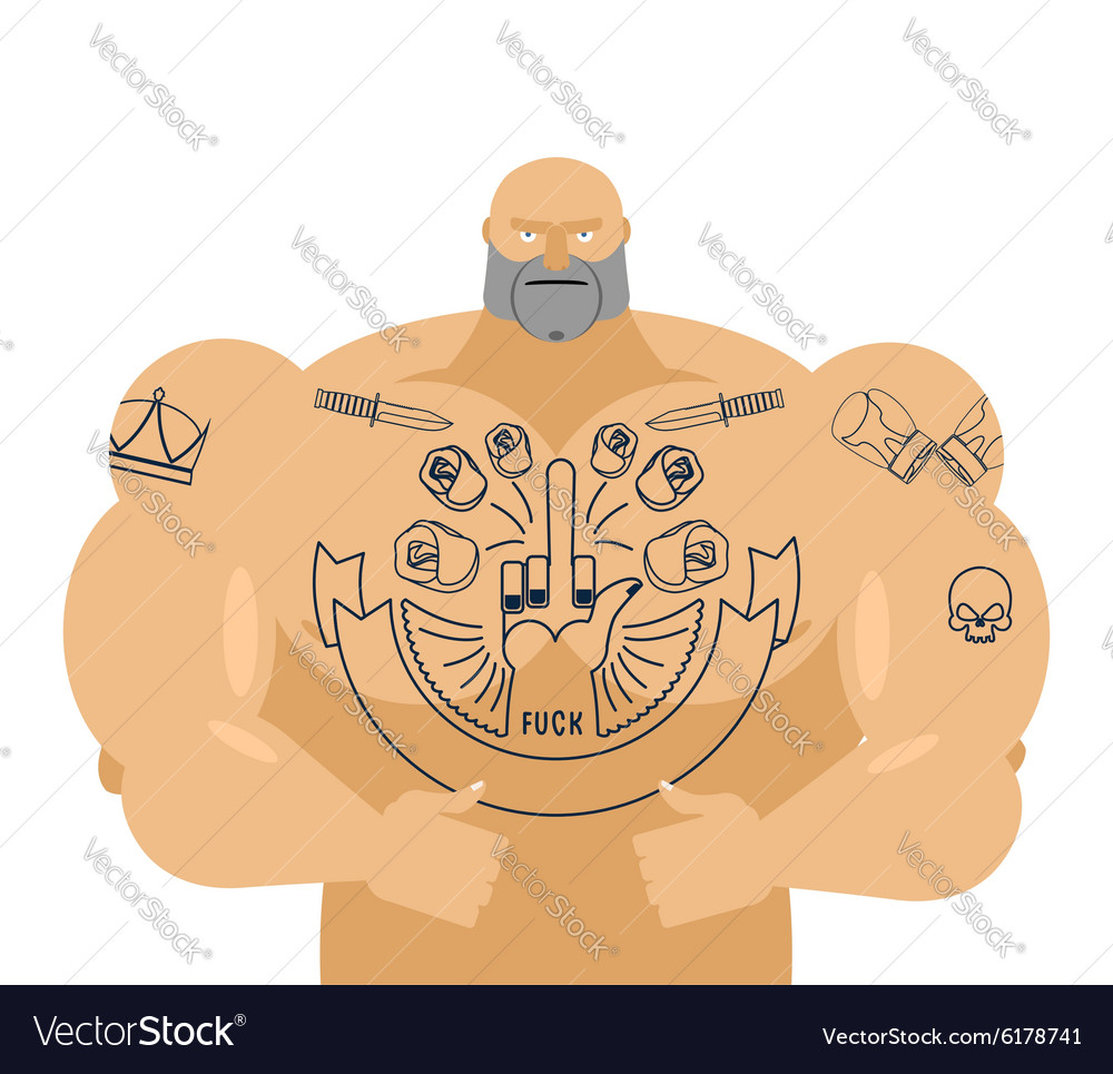 Man tattoos Bandit with big muscles Strong
