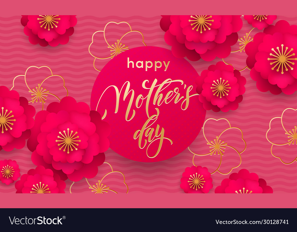 Mothers day greeting card or red flower in gold