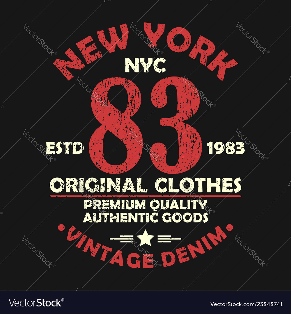 New york vintage graphic for number t-shirt