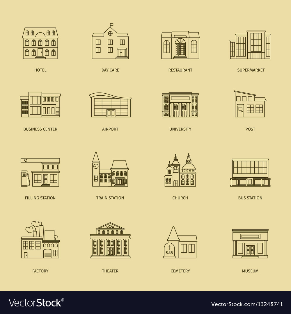 Outline town houses vector image
