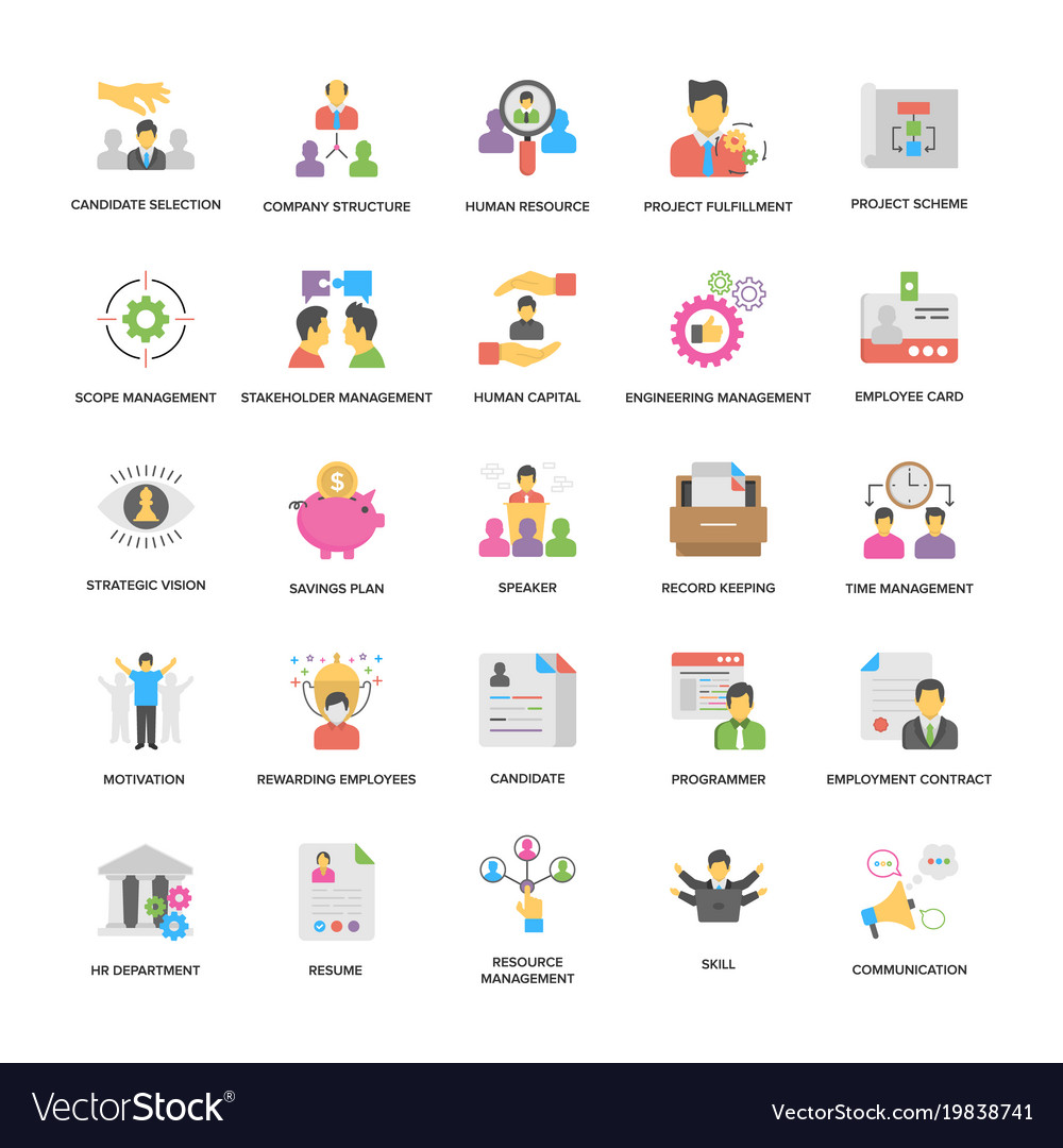 Project management icons collection in fla