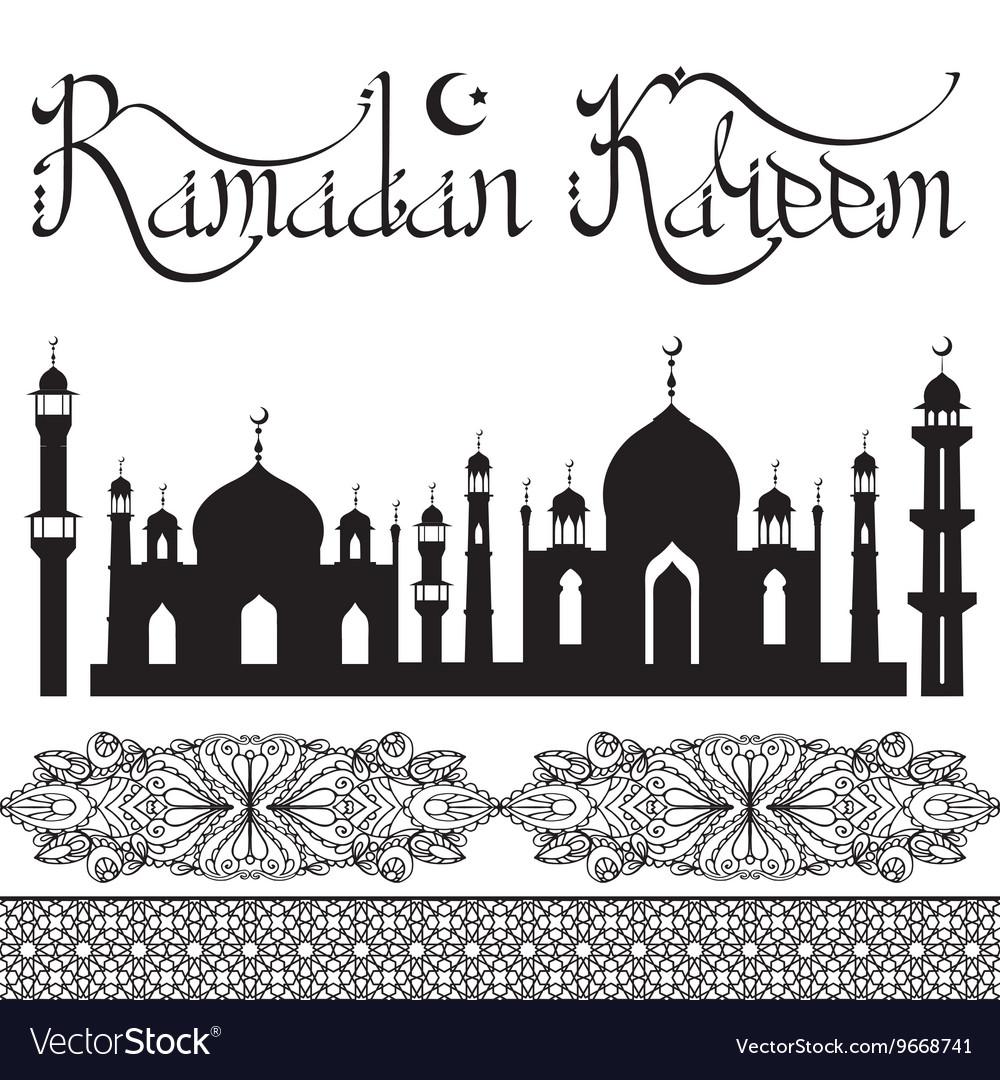 Ramadan Kareem Arabic style letteringmosque