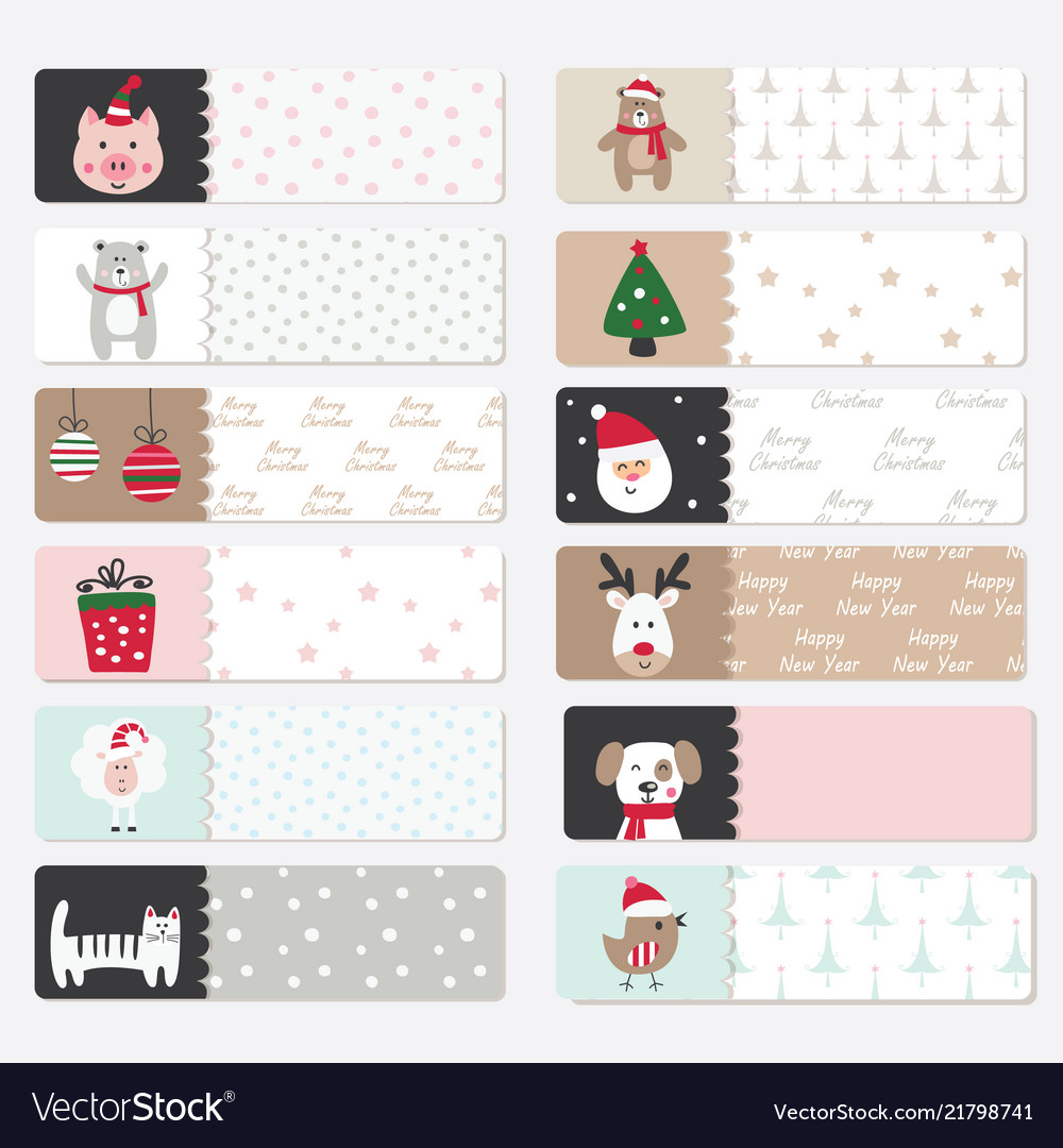 Set of cute winter stickers