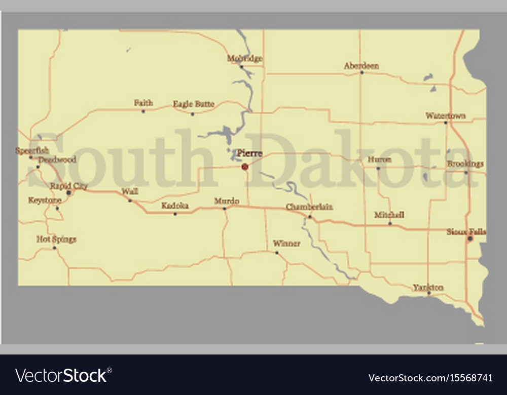 South dacota accurate high detailed state map