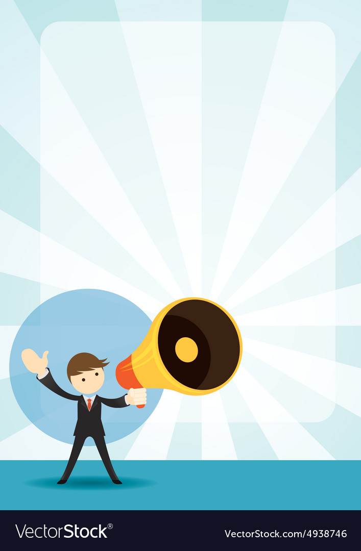 businessman with megaphone announcement background