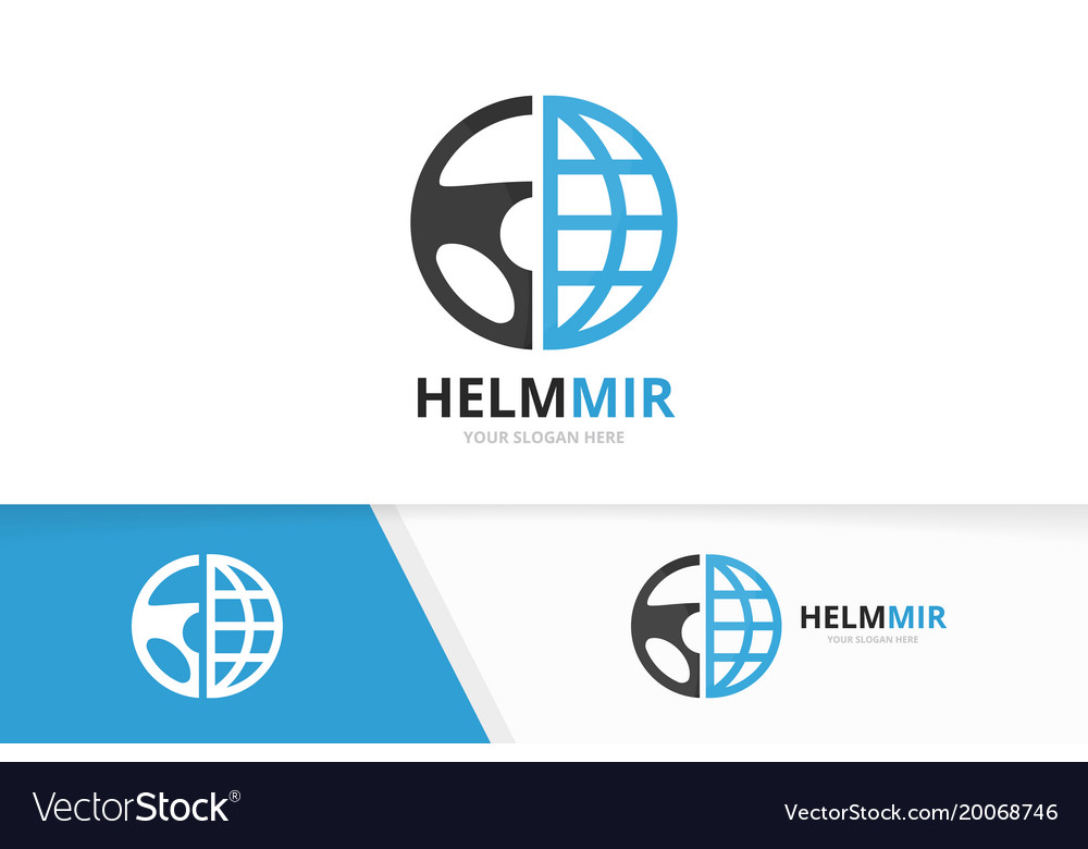 Car helm and planet logo combination vector image