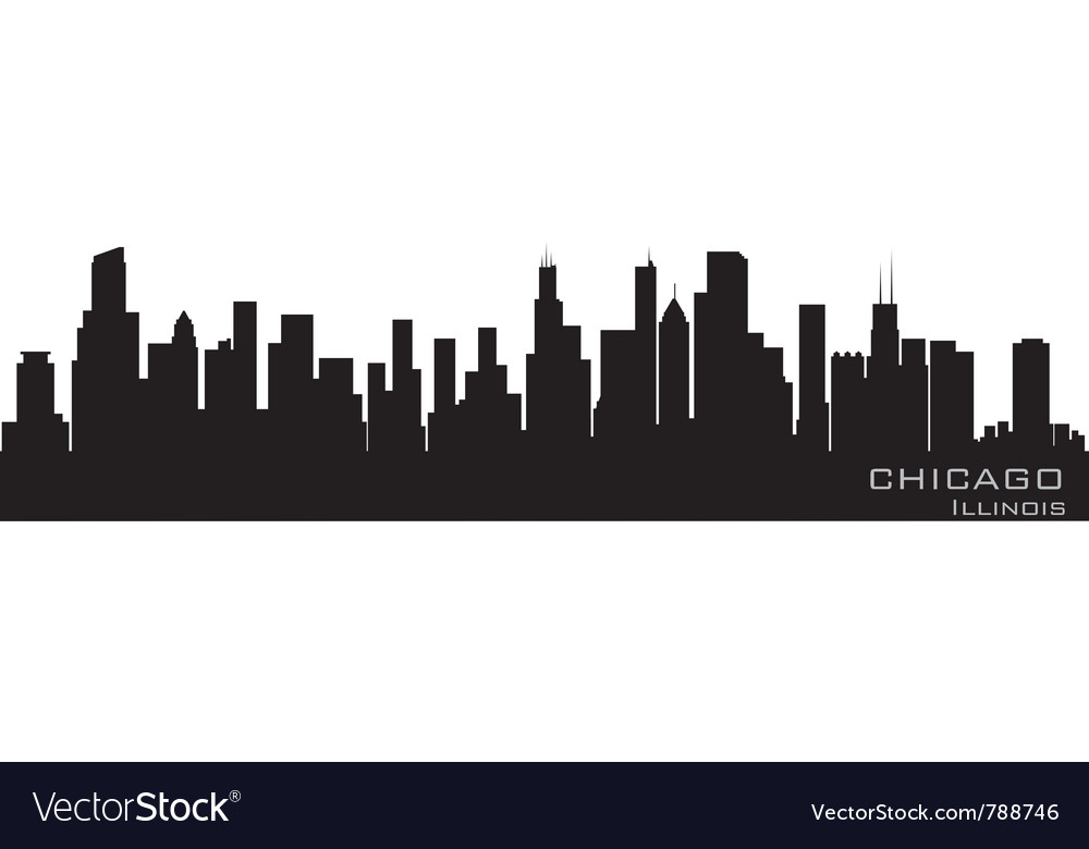 Chicago illinois skyline detailed silhouette