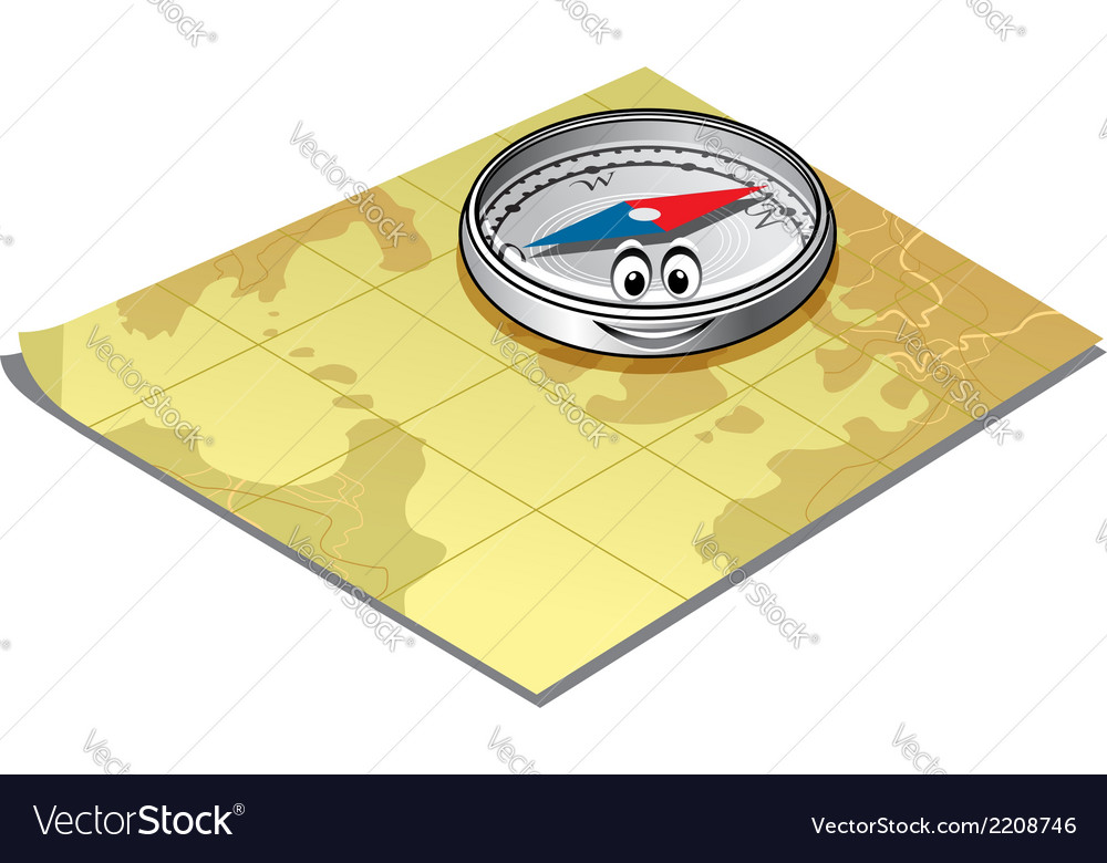 Compass on a map vector image