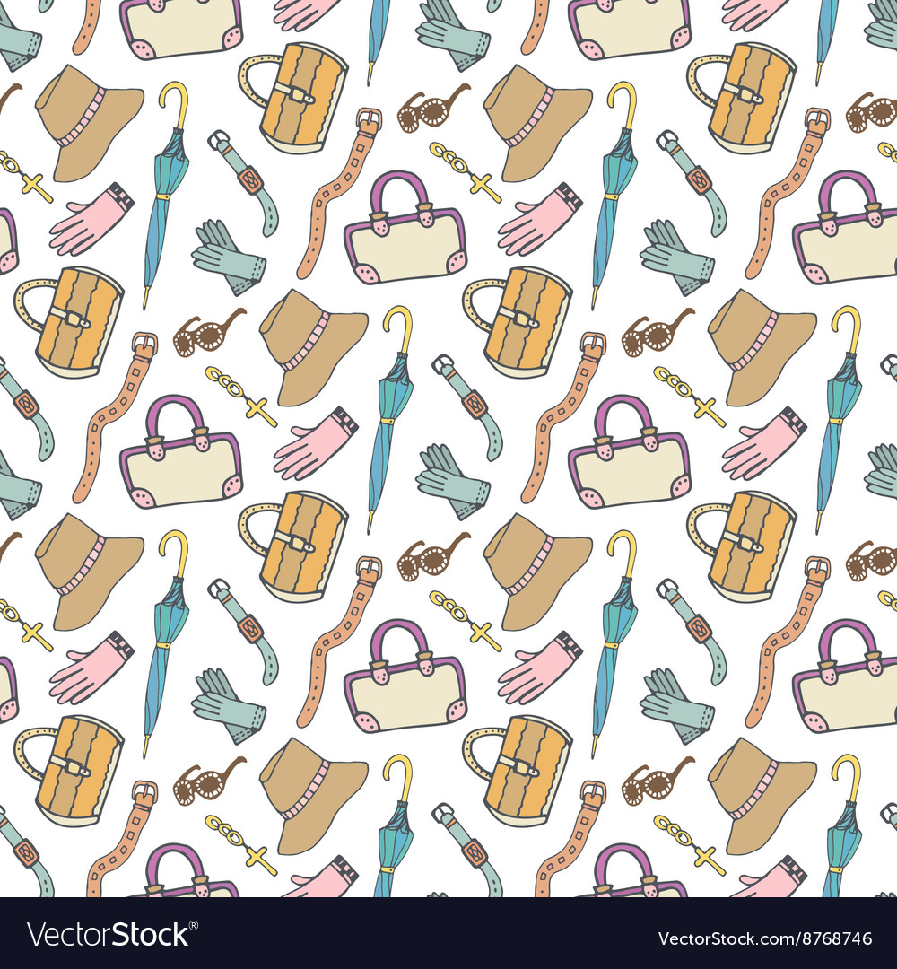 Doodle fashion pattern with accessories and