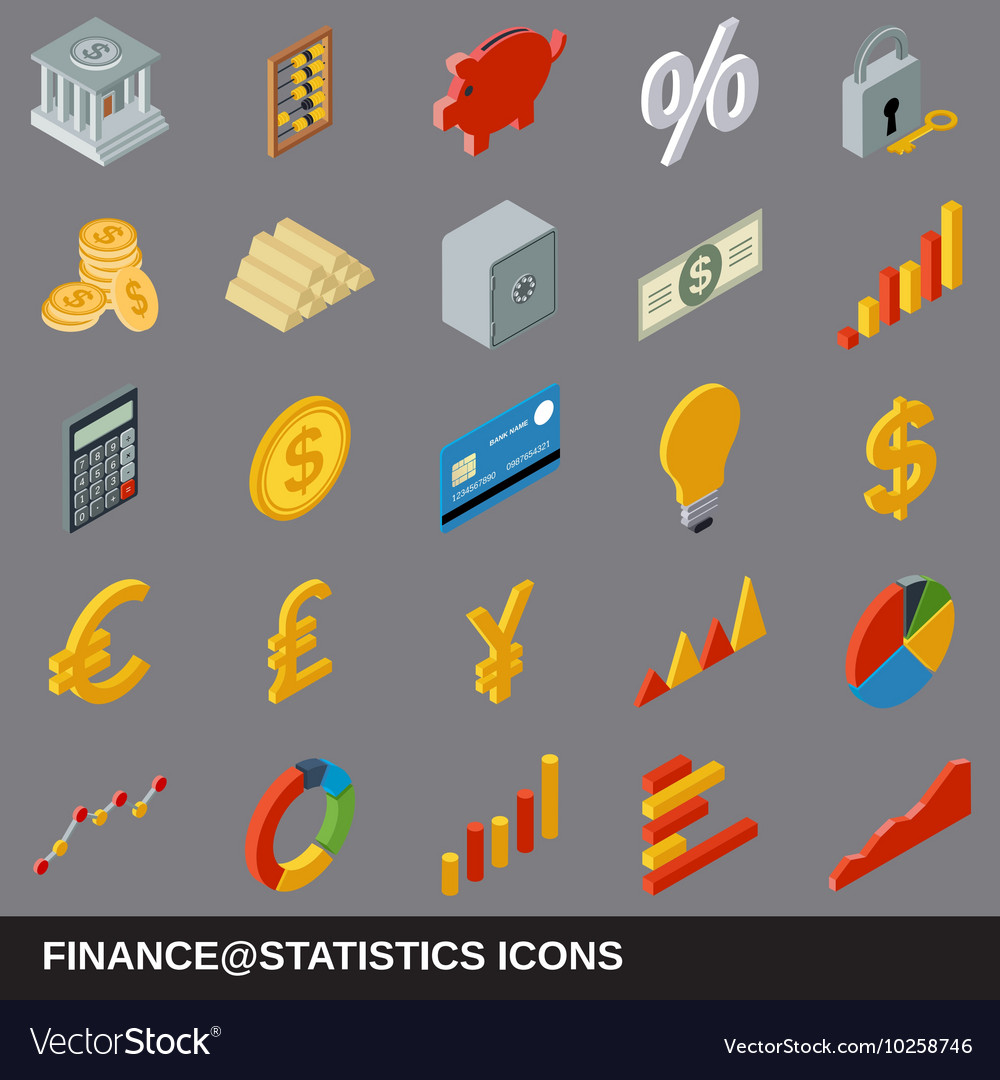 Financial statistics flat isometric icons vector image