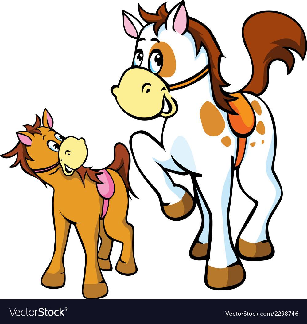 Horses Cartoon Royalty Free Vector Image Vectorstock