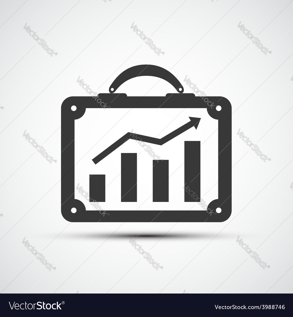 Icon briefcase with financial charts