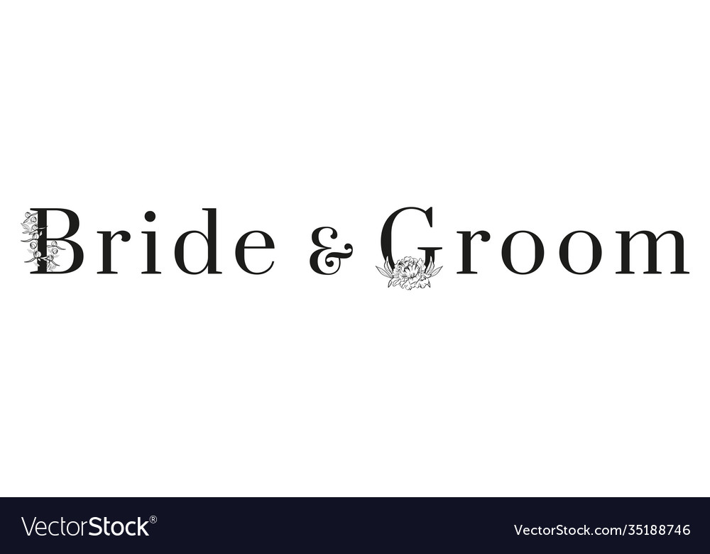 Inscription bride and groom with pattern on white