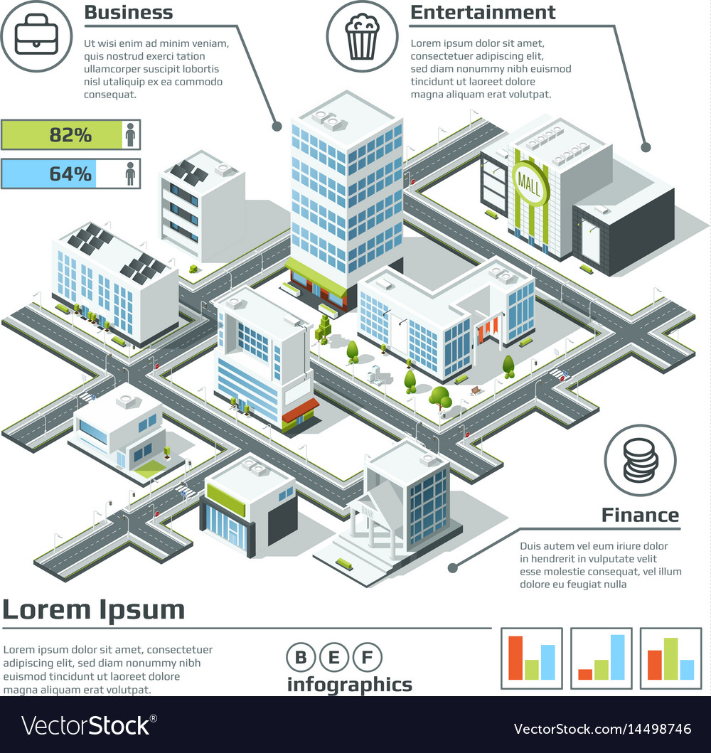 Isometric 3d city map infographic
