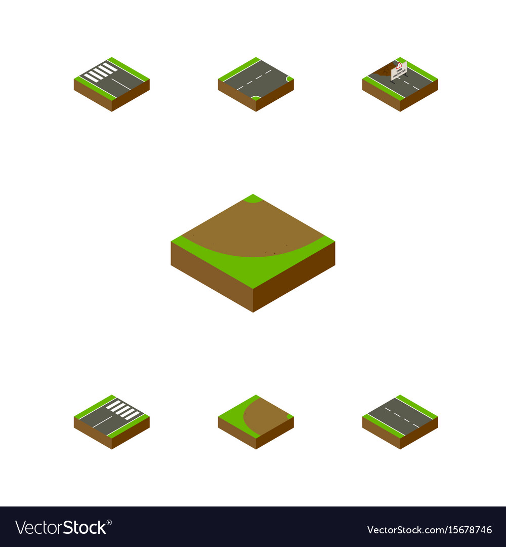 Isometric way set of turning footer turn and vector image