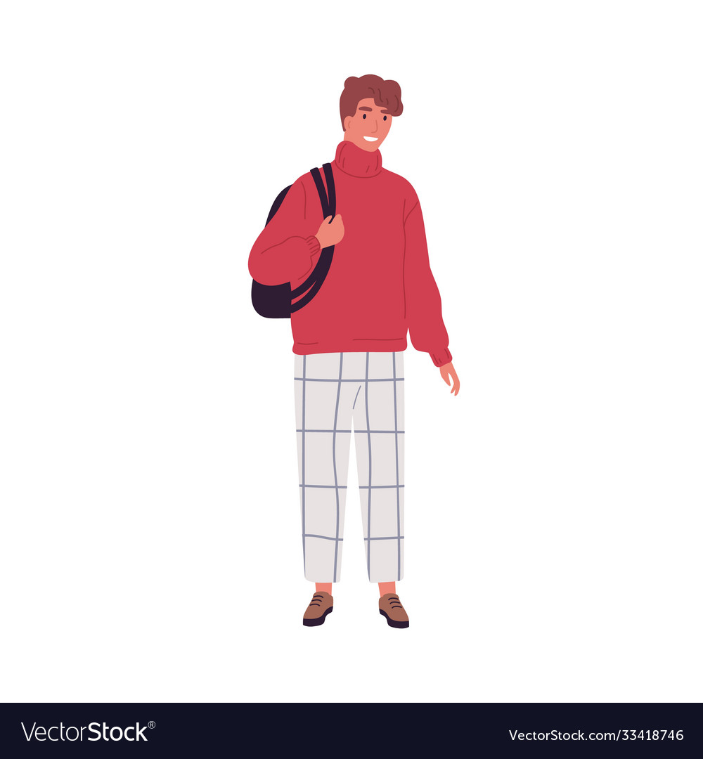 Modern casual guy holding backpack flat