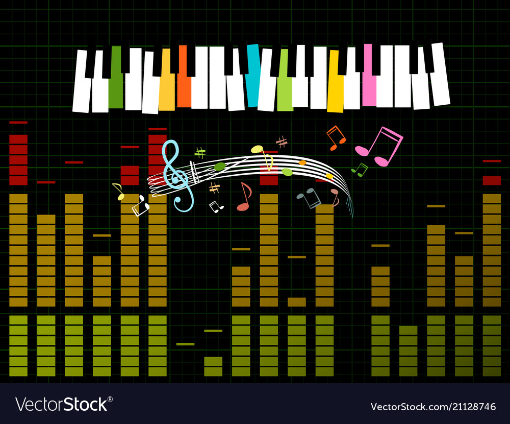 Music studio background with keyboard frequency vector image
