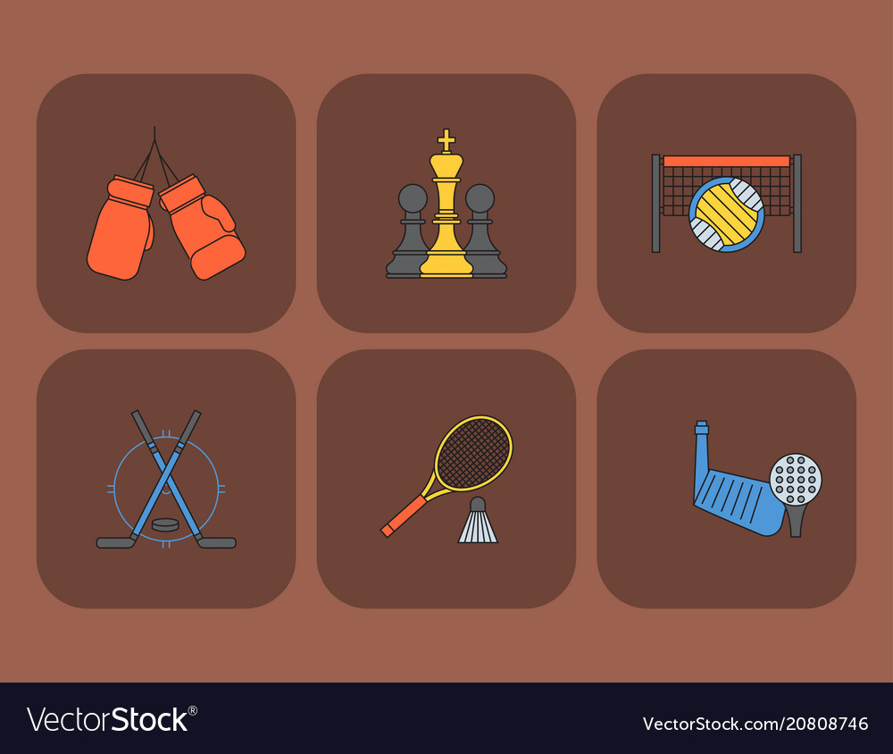 Set of sport icons in flat design line