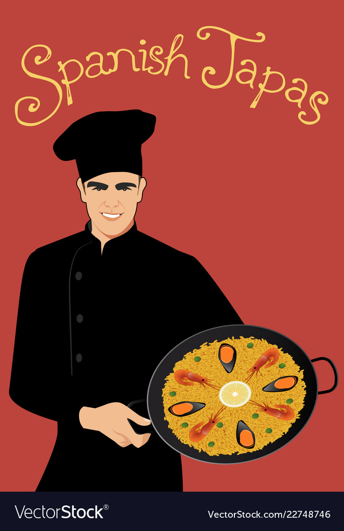 Spanish tapas handsome spanish chef wearing a