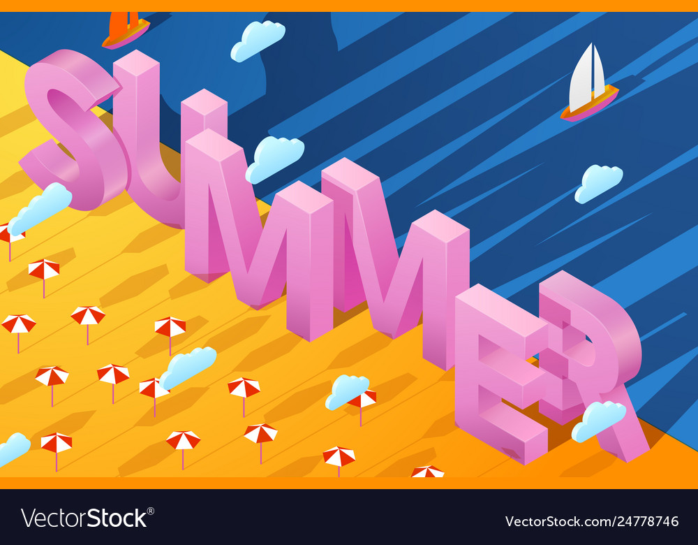 Summer poster with 3d paper letters on sand