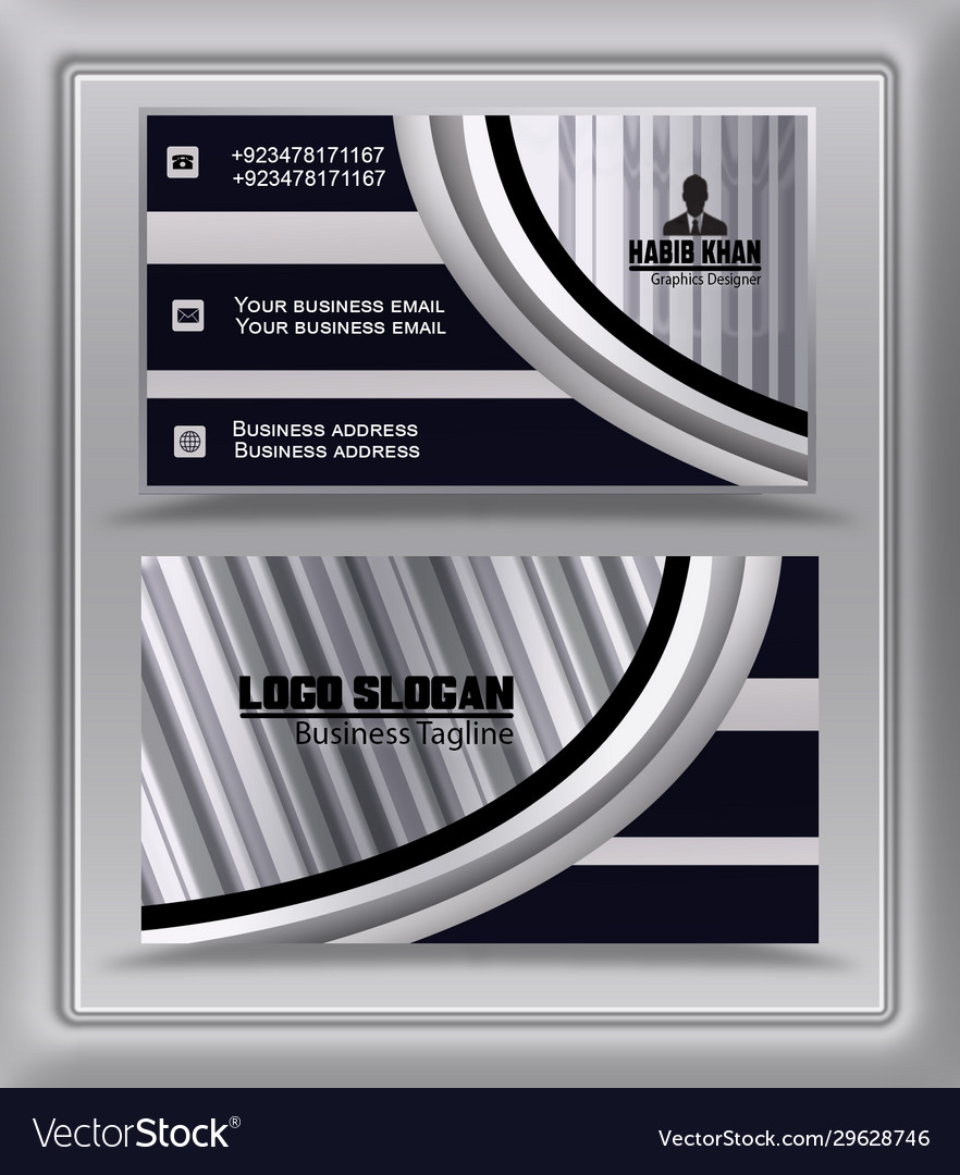 Trending silver black business card visiting card