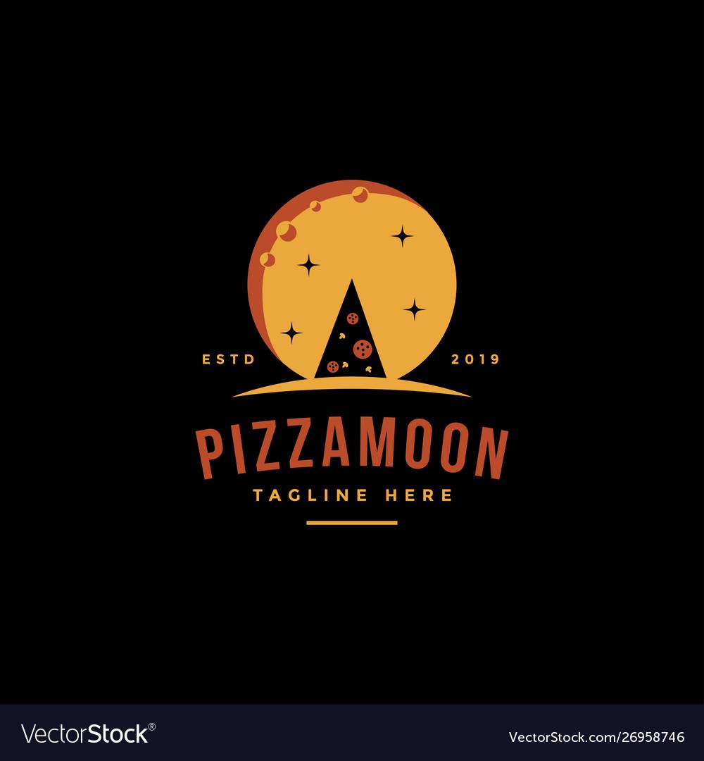 Vintage retro logo pizza and moon