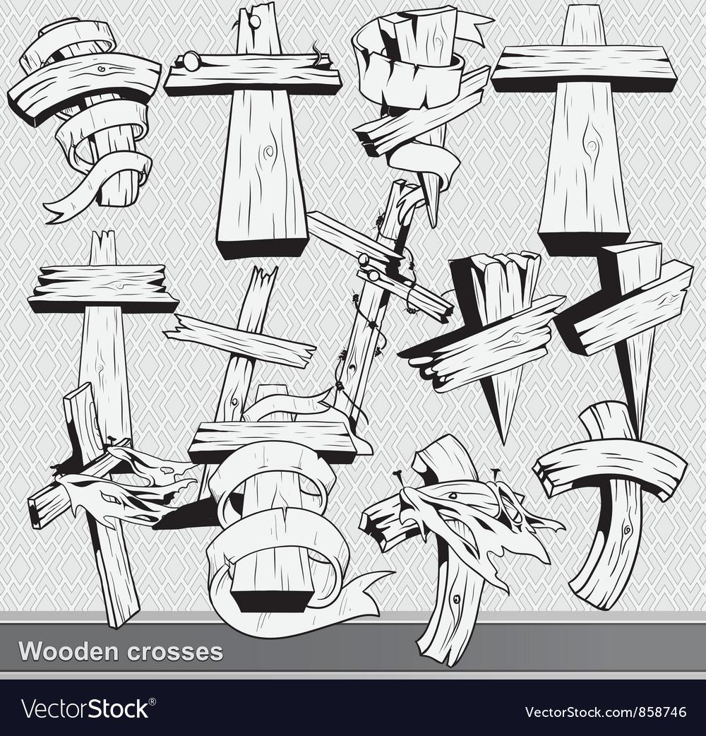 Vintage wood crosses set