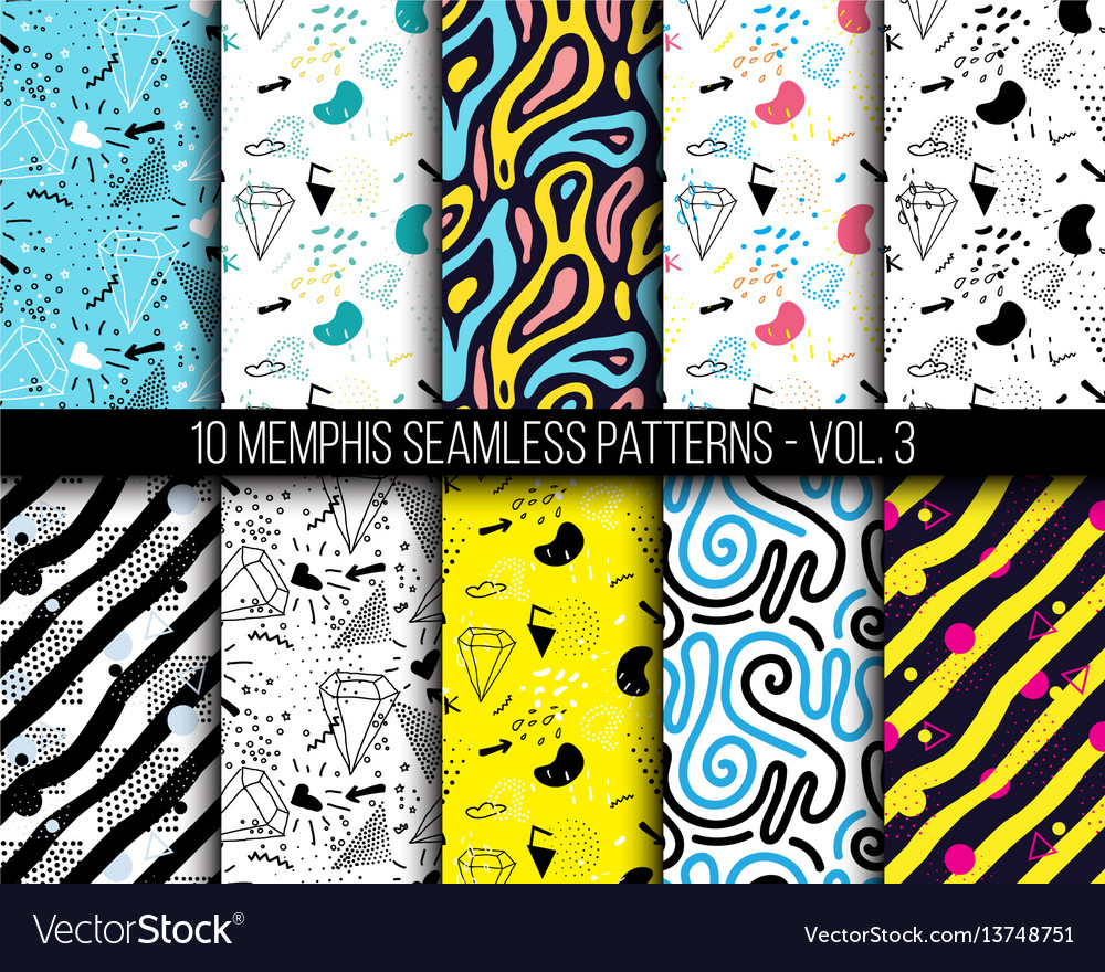 10 universal different geometric memphis seamless