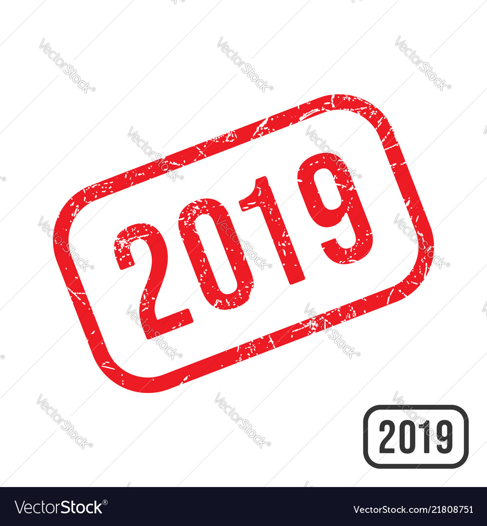 2019 new year rubber stamp with grunge texture