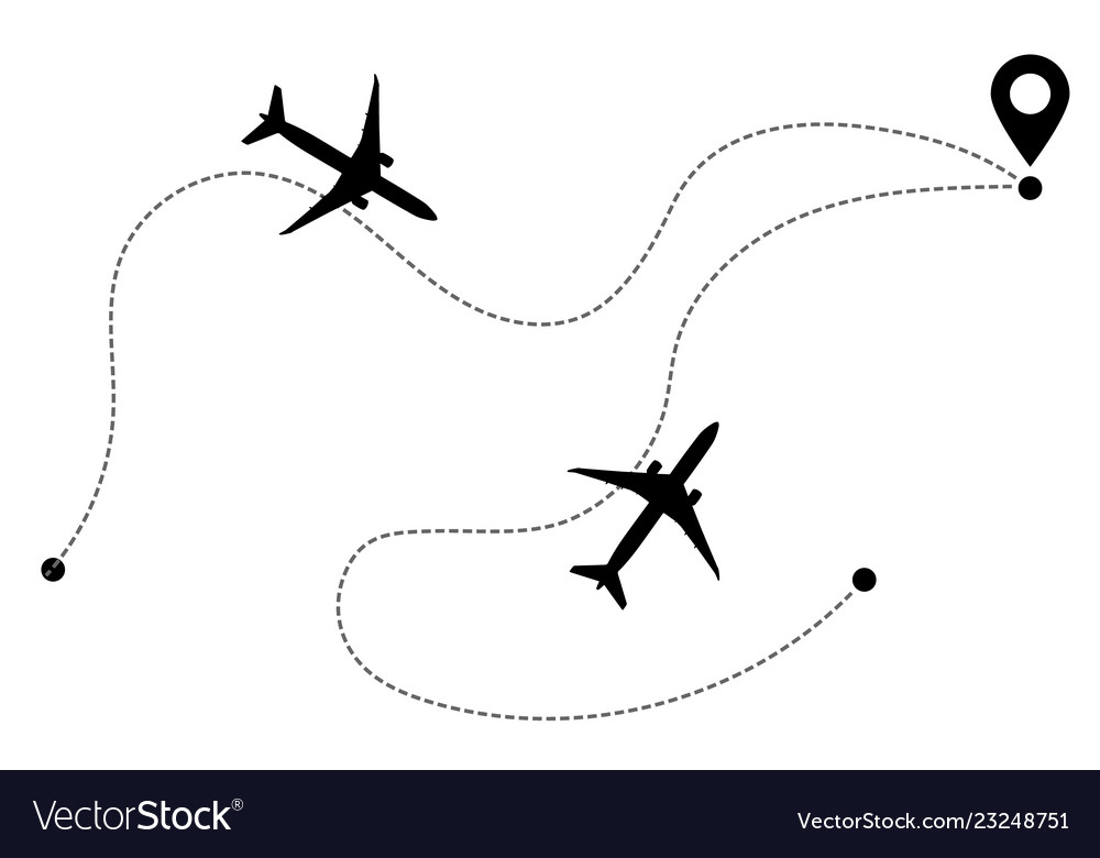 Airplane line path icons flight routes