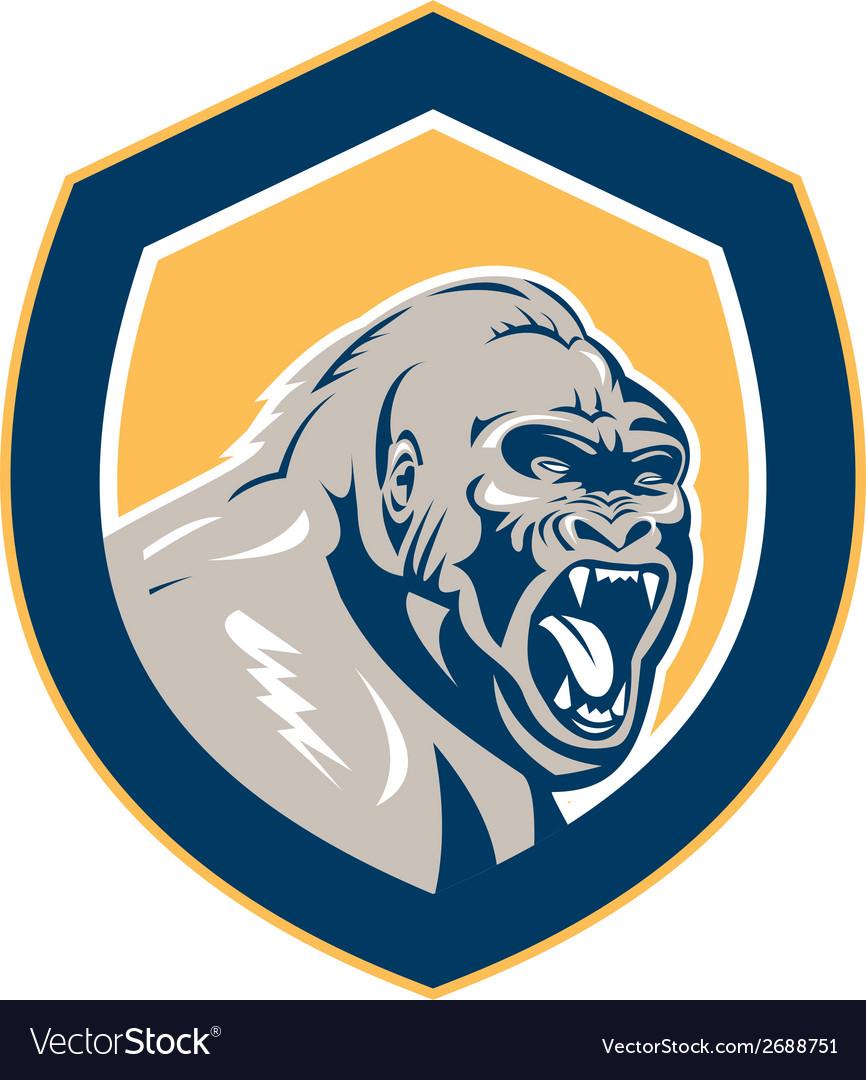 Angry gorilla head shield retro