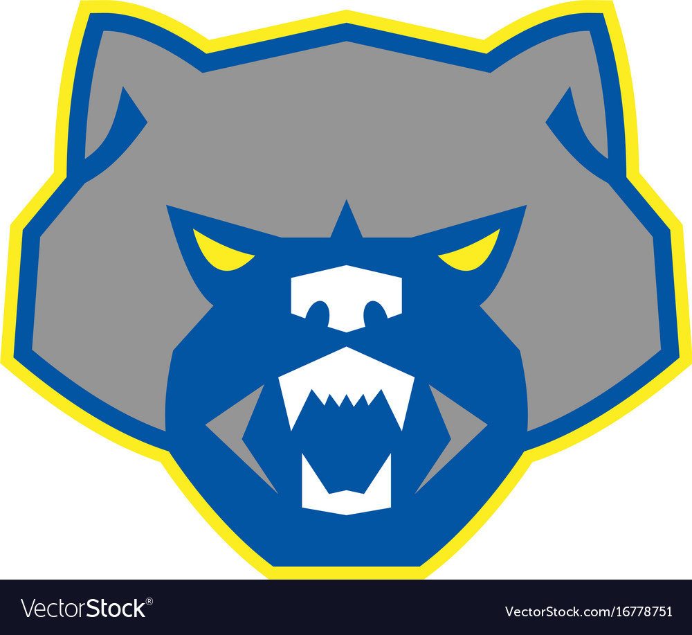 angry wolverine head front retro royalty free vector image