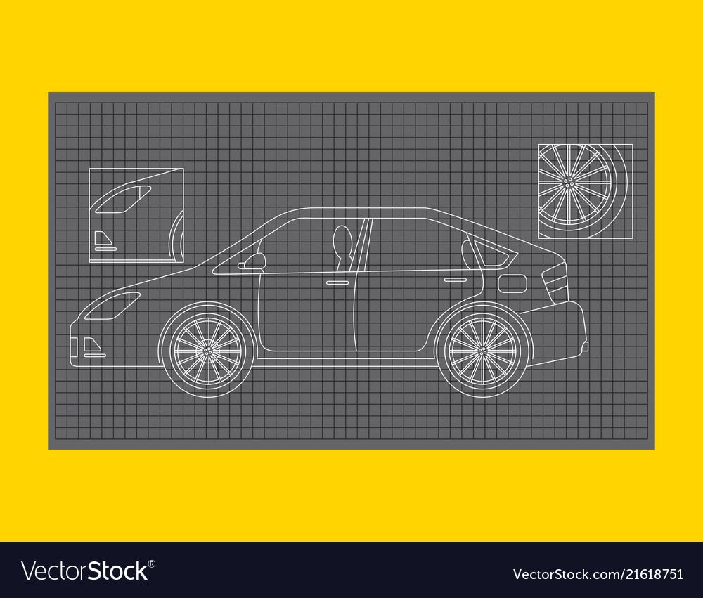Car schematic or car blueprint paper technical vector image malvernweather Gallery