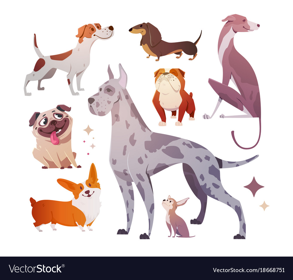 Image of: Images Vectorstock Cartoon Dogs Of Different Breeds And Sizes Vector Image