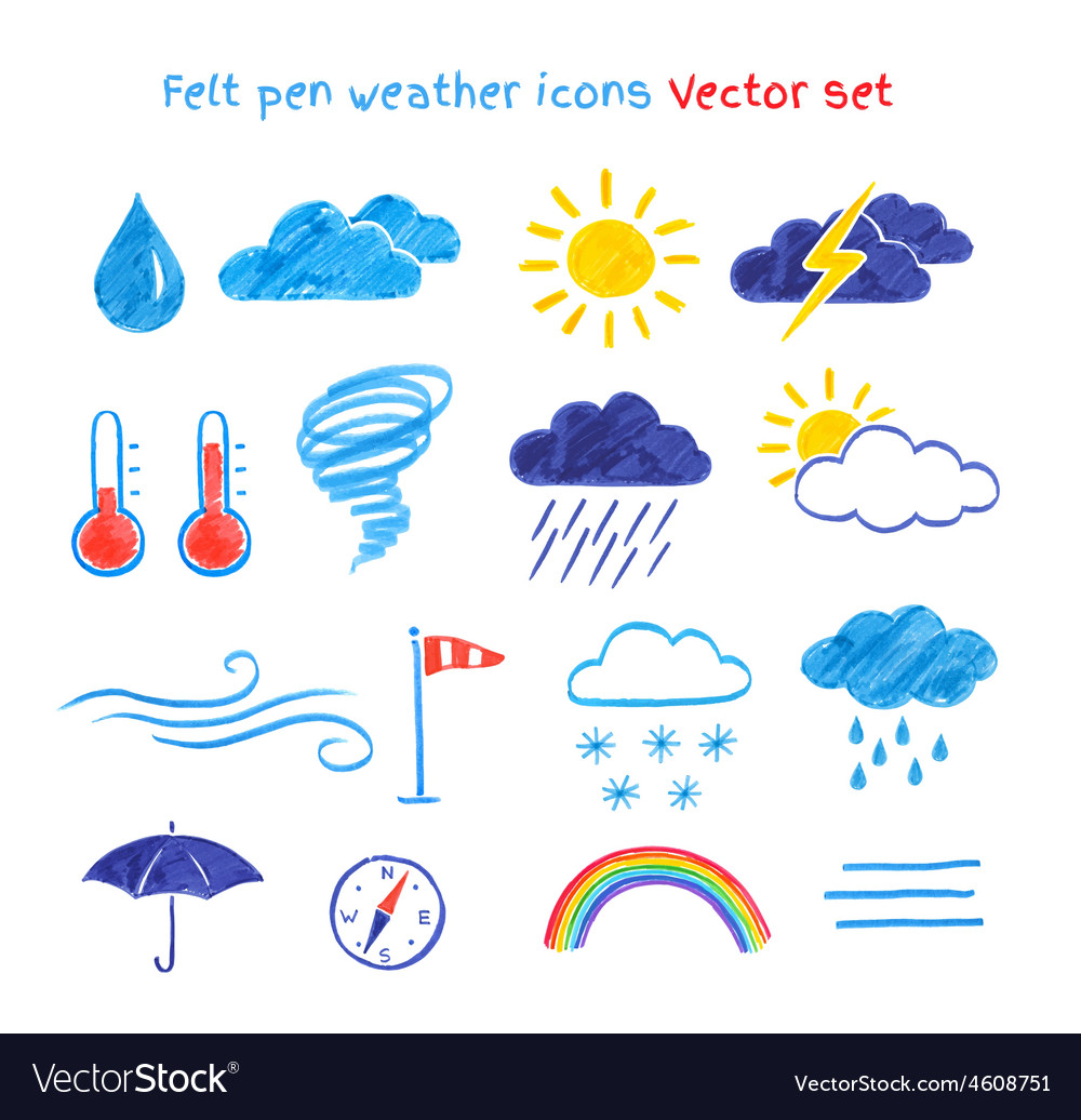 Child Drawings Of Weather Symbols Royalty Free Vector Image